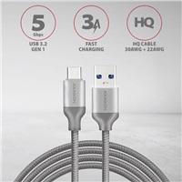 AXAGON BUCM3-AM20G, SUPERSPEED kabel USB-C   USB-A 3.2 Gen 1, 2m, 3A, oplet, šedý