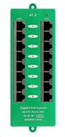 POE injektor panel aktivní, gigabitový - 8 portů, stíněný, svorkovnice, 802.3af/at