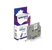 WECARE páska pro BROTHER TZE-S231, Black/White, 12mm x 8m (TZES231)