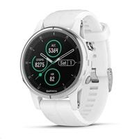 Garmin GPS sportovní hodinky fenix 5S Plus White, bílý řemínek
