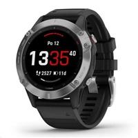 Garmin GPS sportovní hodinky fenix6 Glass, Silver/Black Band