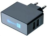 POWER CHARGER se dvěma USB porty 2.1 A/1 A černý