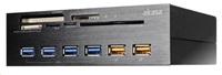 """AKASA čtečka karet AK-HC-07BK Interconnect EX do 5.25"""", 5-slotová, 4x USB 3.0, 2x nabíjecí USB, E-SATA, hliník, černá"""