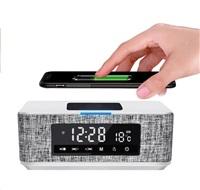PLATINET Reproduktor Daily Bluetooth, bezdrátové nabíjení Qi, přehrávání microSD, FM, AUX, hodiny, bílý