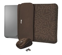 """TRUST myš + obal na notebook Yvo Reversible 15.6"""" Laptop Sleeve and Wireless Mouse - Brown Hearts"""