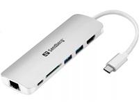 Sandberg dokovací stanice, USB-C, 6 různých konektorů