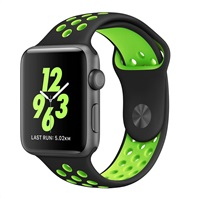 eses Silikonový řemínek 42mm/44mm S/M/L černý/zelený pro Apple Watch