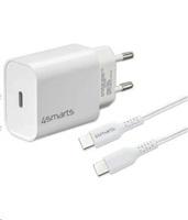 4smarts rychlonabíječka do sítě VoltPlug 20W PD s USB-C -> USB-C kabelem 1,5m, bílá
