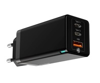 Baseus GaN duální adaptér USB-A + 2* USB-C 65W černá