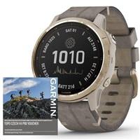 Garmin GPS sportovní hodinky fenix6S PRO Solar, LightGold/Suede Band (MAP/Music)