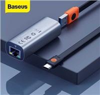 Baseus Steel Cannon Series adaptér USB A Gigabit LAN RJ45 adaptér, šedá