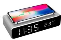GEMBIRD digitální budík s funkcí bezdrátového nabíjení, silver/stříbrná