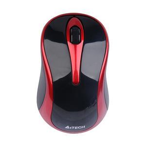 A4tech G3-280N, V-Track, bezdrátová optická myš, 2.4GHz, 10m dosah, černo-červená
