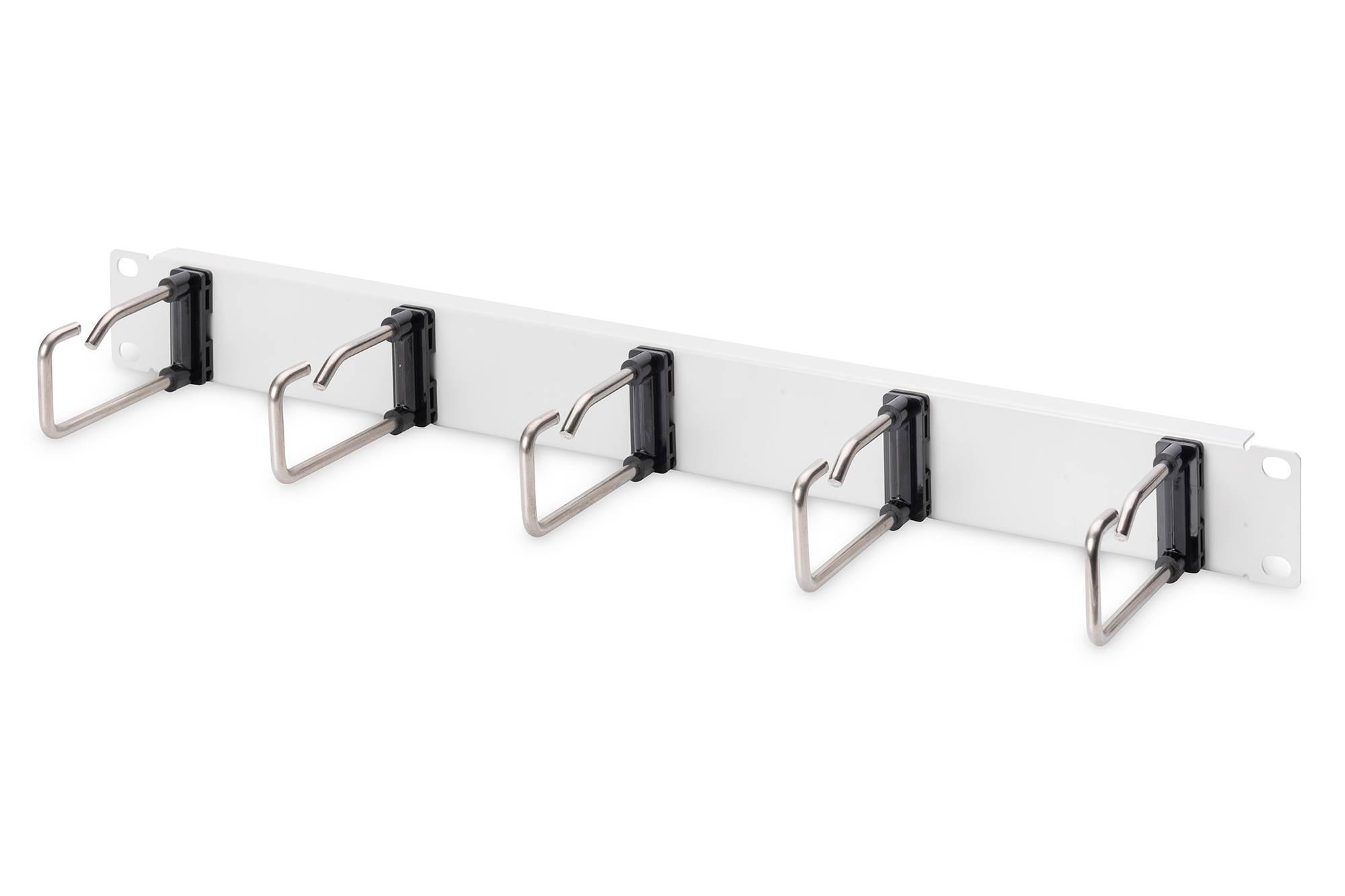 Digitus 1U kabelový spravovací panel 5x ocelové kroužky 40x75 mm, šedé (RAL 7035)