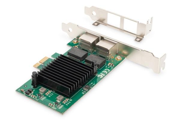 Digitus Karta Gigabit Ethernet PCI Express, dvouportová 32bitový držák s nízkým profilem, čipová sada Intel
