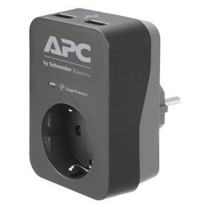 APC Essential SurgeArrest, 1 Ausgang, 2 USB-Anschlüsse, schwarz, 230 V, Deutschland
