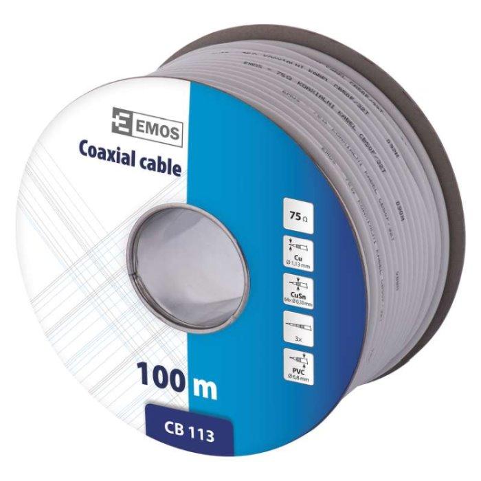 Emos koaxiální kabel CB113, vnitřní, 6.8mm, měď. drát, 100m, cívka