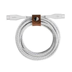 Belkin DURATEK USB-C na USB-C kabel, 1,2m, bílý - odolný + řemínek