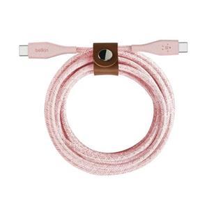 Belkin DURATEK USB-C na USB-C kabel, 1,2m, růžový - odolný + řemínek