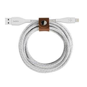Belkin DURATEK Lightning kabel, 3m, bílý - odolný + řemínek