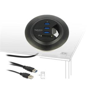 Delock Stolní Hub USB 3.0 3-portový + čtečka SD karet s 2 sloty